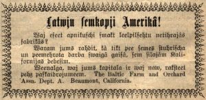 Advertisement for The Baltic Farm and Orchard Association