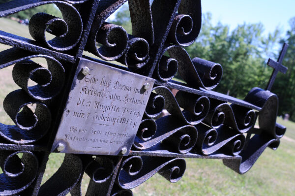 The grave marker for Krišjānis Jānis Cielava (1844-1914) is made of wrought iron and is unusual for the Latvian cemetery in Lincoln County.