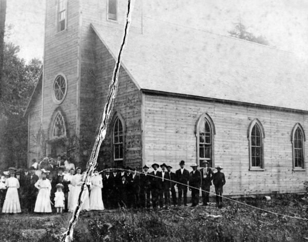 This image most likely was made the day in 1906 when the Latvian Lutheran church in Lincoln County was dedicated.