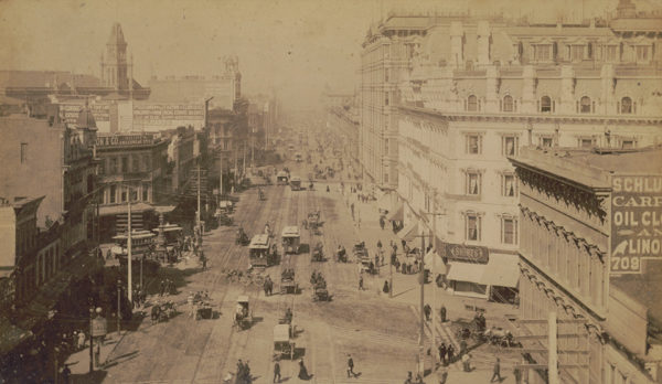 A bird's-eye view of Market Street in San Francisco