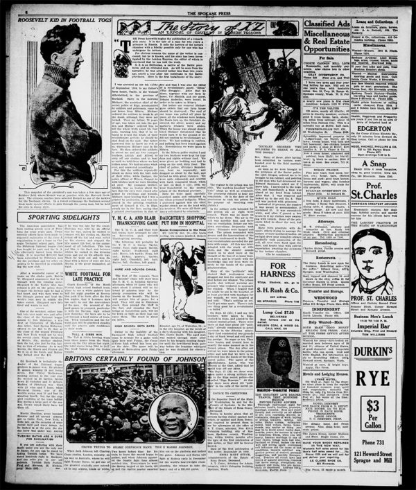 Among U.S. newspapers that reprinted all or part of Eduard Bīriņš' story of torture in Russian prisons was the daily Spokane Press.